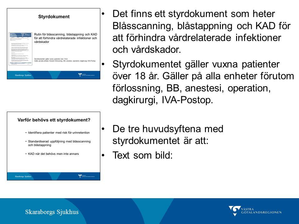 Skaraborgs Sjukhus Det finns ett styrdokument som heter Blåsscanning, blåstappning och KAD för att förhindra vårdrelaterade infektioner och vårdskador.