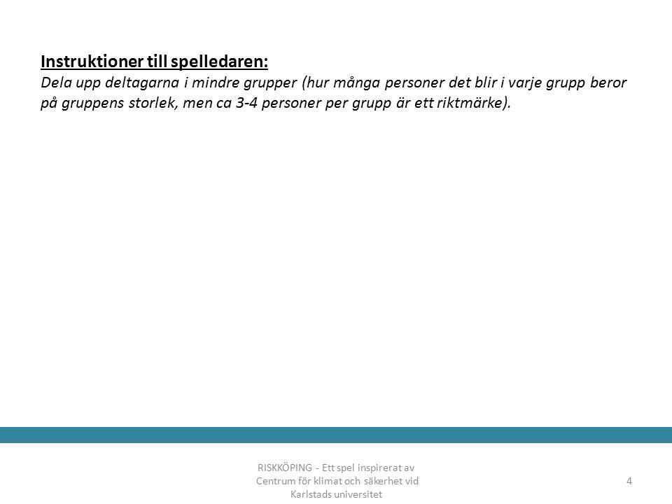 Instruktioner till spelledaren: Dela upp deltagarna i mindre grupper (hur många personer det blir i varje grupp beror på gruppens storlek, men ca 3-4 personer per grupp är ett riktmärke).