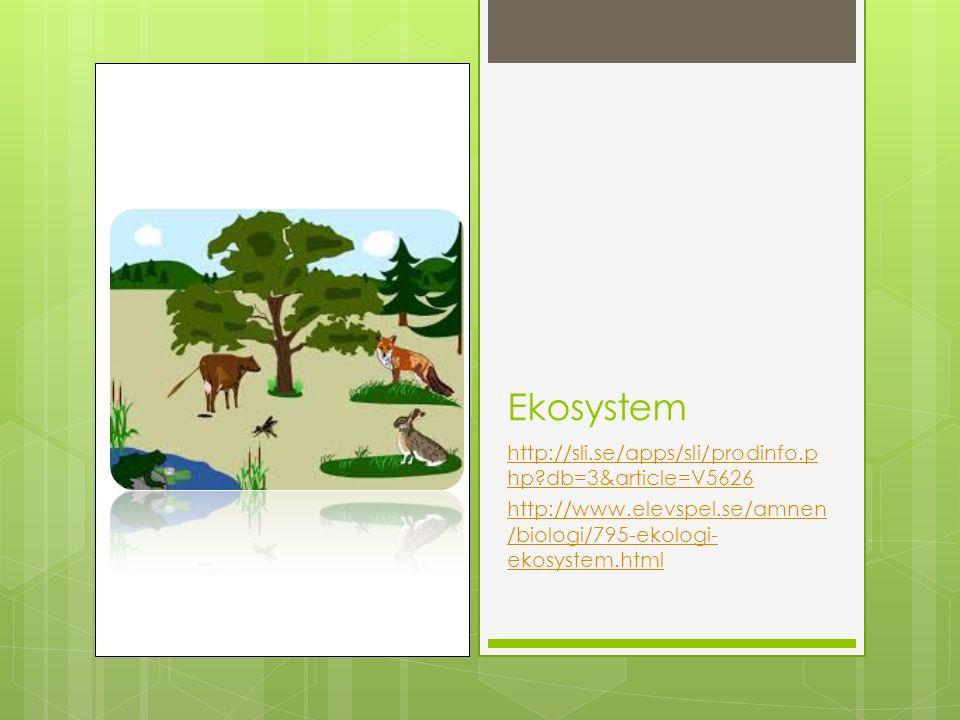 Ekosystem http://sli.se/apps/sli/prodinfo.p hp db=3&article=V5626 http://www.elevspel.se/amnen /biologi/795-ekologi- ekosystem.html
