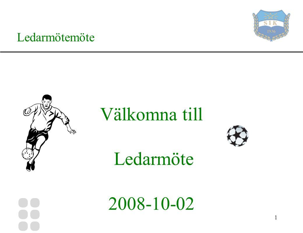 1 Välkomna till Ledarmöte 2008-10-02 Ledarmötemöte
