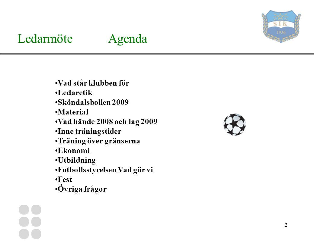 2 Ledarmöte Agenda Vad står klubben för Ledaretik Sköndalsbollen 2009 Material Vad hände 2008 och lag 2009 Inne träningstider Träning över gränserna Ekonomi Utbildning Fotbollsstyrelsen Vad gör vi Fest Övriga frågor