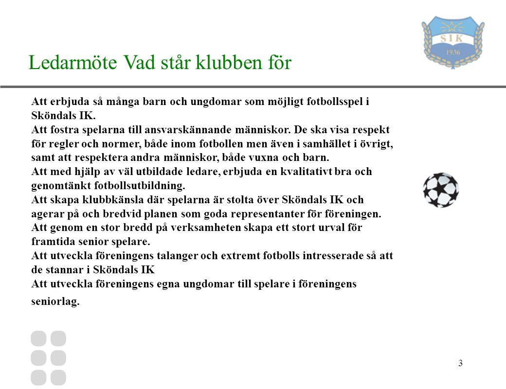 3 Ledarmöte Vad står klubben för Att erbjuda så många barn och ungdomar som möjligt fotbollsspel i Sköndals IK.