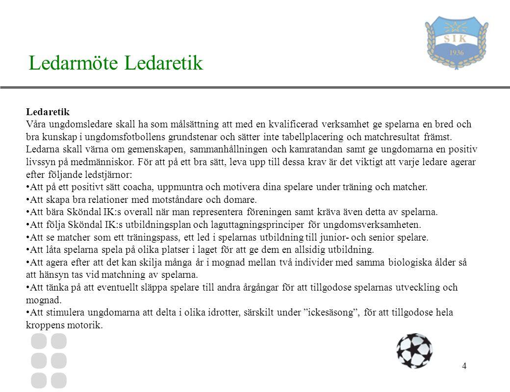 4 Ledarmöte Ledaretik Ledaretik Våra ungdomsledare skall ha som målsättning att med en kvalificerad verksamhet ge spelarna en bred och bra kunskap i ungdomsfotbollens grundstenar och sätter inte tabellplacering och matchresultat främst.
