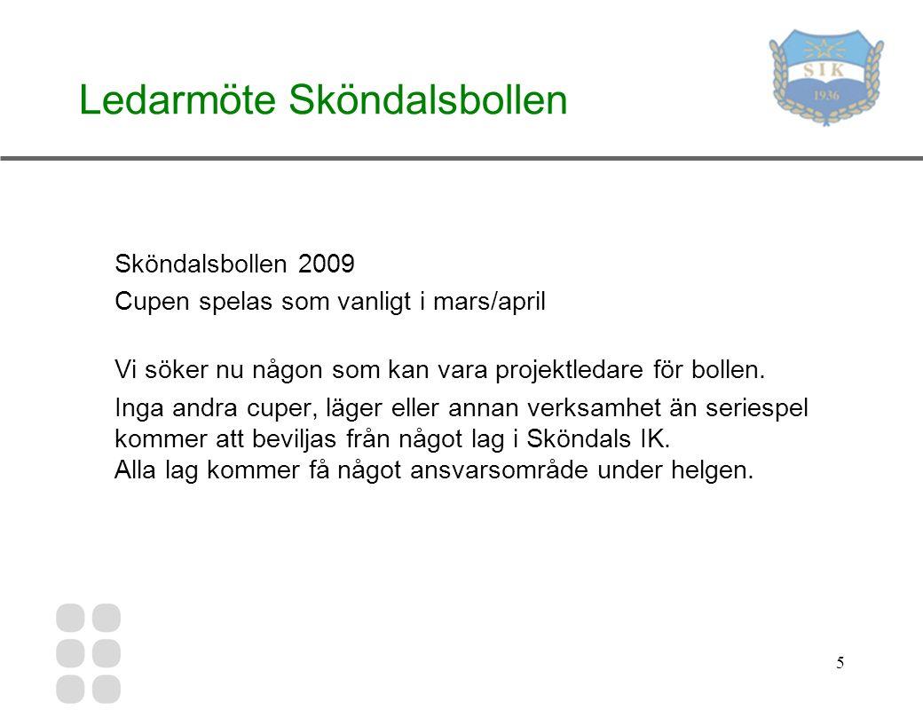 5 Ledarmöte Sköndalsbollen Sköndalsbollen 2009 Cupen spelas som vanligt i mars/april Vi söker nu någon som kan vara projektledare för bollen.