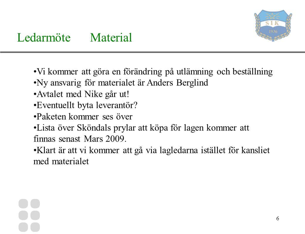 6 Ledarmöte Material Vi kommer att göra en förändring på utlämning och beställning Ny ansvarig för materialet är Anders Berglind Avtalet med Nike går ut.