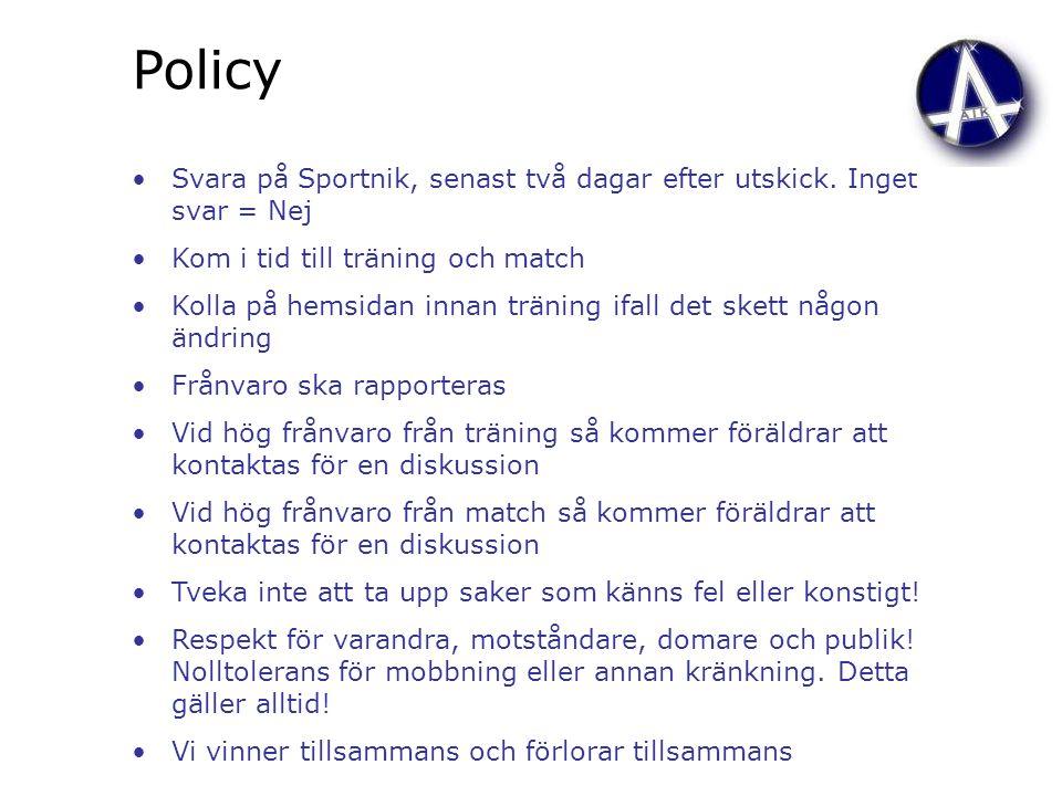 Policy Svara på Sportnik, senast två dagar efter utskick. Inget svar = Nej Kom i tid till träning och match Kolla på hemsidan innan träning ifall det