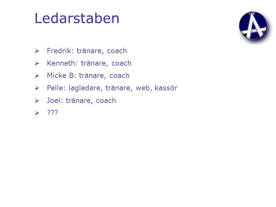 Ledarstaben  Fredrik: tränare, coach  Kenneth: tränare, coach  Micke B: tränare, coach  Pelle: lagledare, tränare, web, kassör  Joel: tränare, coach 