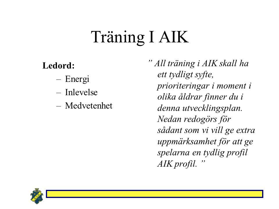 """Ledord: –Energi –Inlevelse –Medvetenhet """" All träning i AIK skall ha ett tydligt syfte, prioriteringar i moment i olika åldrar finner du i denna utvec"""