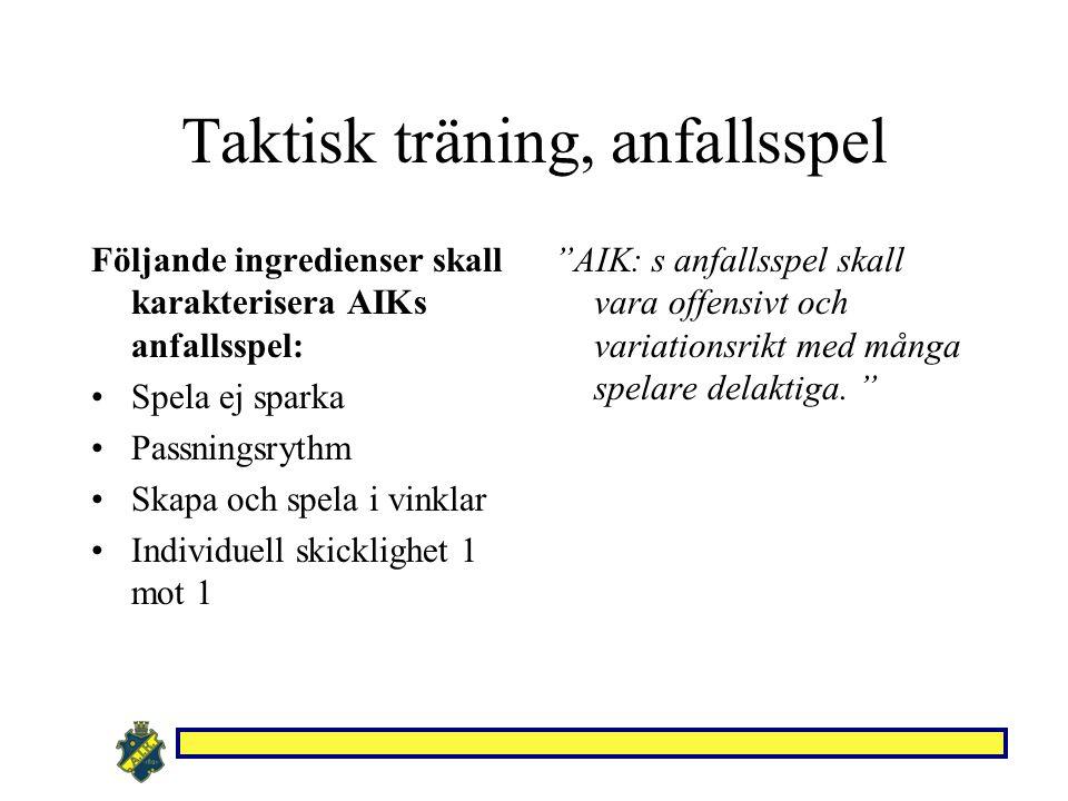 Taktisk träning, anfallsspel Följande ingredienser skall karakterisera AIKs anfallsspel: Spela ej sparka Passningsrythm Skapa och spela i vinklar Individuell skicklighet 1 mot 1 AIK: s anfallsspel skall vara offensivt och variationsrikt med många spelare delaktiga.
