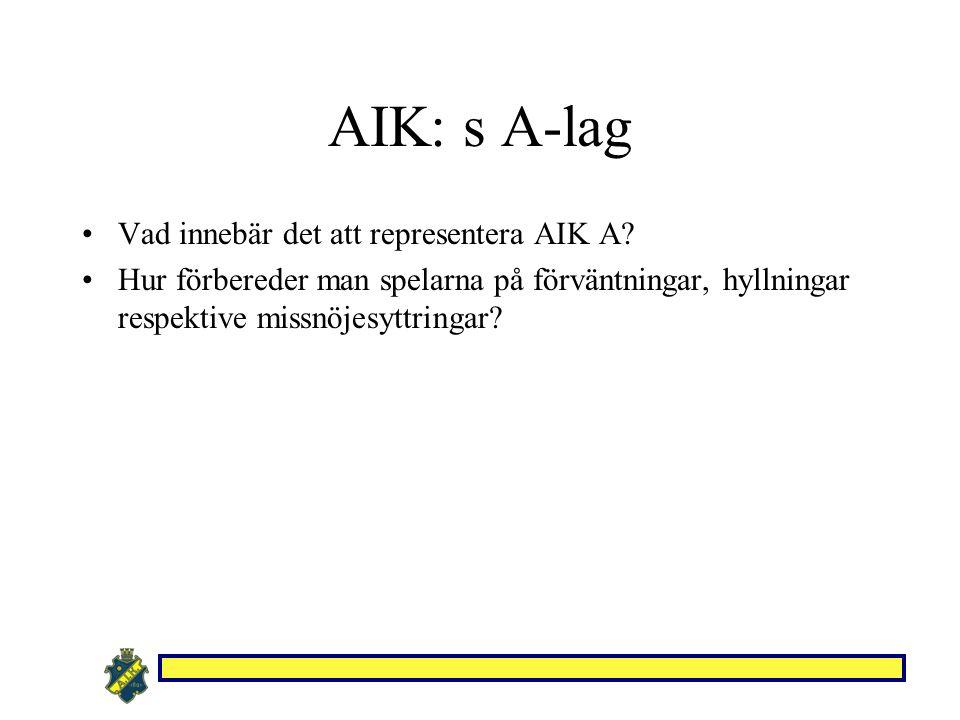 AIK: s A-lag Vad innebär det att representera AIK A? Hur förbereder man spelarna på förväntningar, hyllningar respektive missnöjesyttringar?
