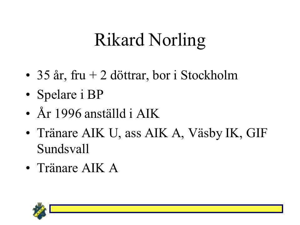 Rikard Norling 35 år, fru + 2 döttrar, bor i Stockholm Spelare i BP År 1996 anställd i AIK Tränare AIK U, ass AIK A, Väsby IK, GIF Sundsvall Tränare A