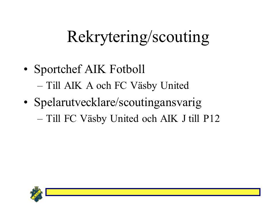 Rekrytering/scouting Sportchef AIK Fotboll –Till AIK A och FC Väsby United Spelarutvecklare/scoutingansvarig –Till FC Väsby United och AIK J till P12