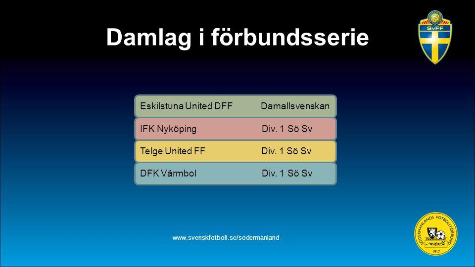 Damlag i förbundsserie www.svenskfotboll.se/sodermanland Eskilstuna United DFF Damallsvenskan IFK Nyköping Div. 1 Sö Sv Telge United FF Div. 1 Sö Sv D