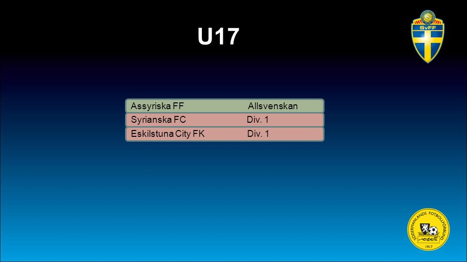 U17 Assyriska FF Allsvenskan Syrianska FC Div. 1 Eskilstuna City FK Div. 1