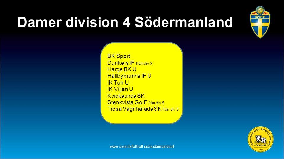 Damer division 4 Södermanland www.svenskfotboll.se/sodermanland BK Sport Dunkers IF från div 5 Hargs BK U Hällbybrunns IF U IK Tun U IK Viljan U Kvick