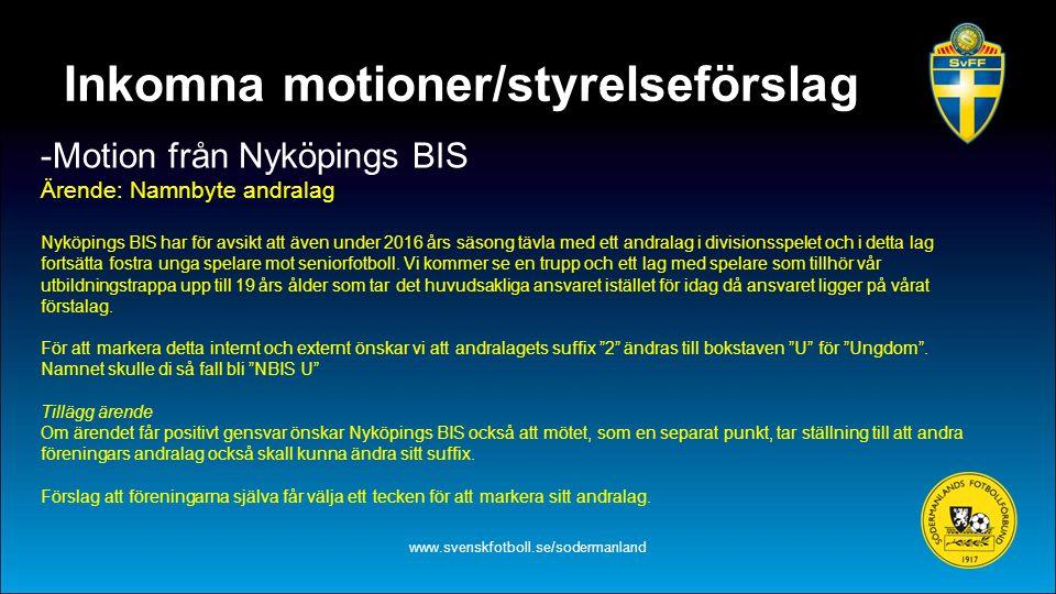 Inkomna motioner/styrelseförslag -Motion från Nyköpings BIS Ärende: Namnbyte andralag Nyköpings BIS har för avsikt att även under 2016 års säsong tävl