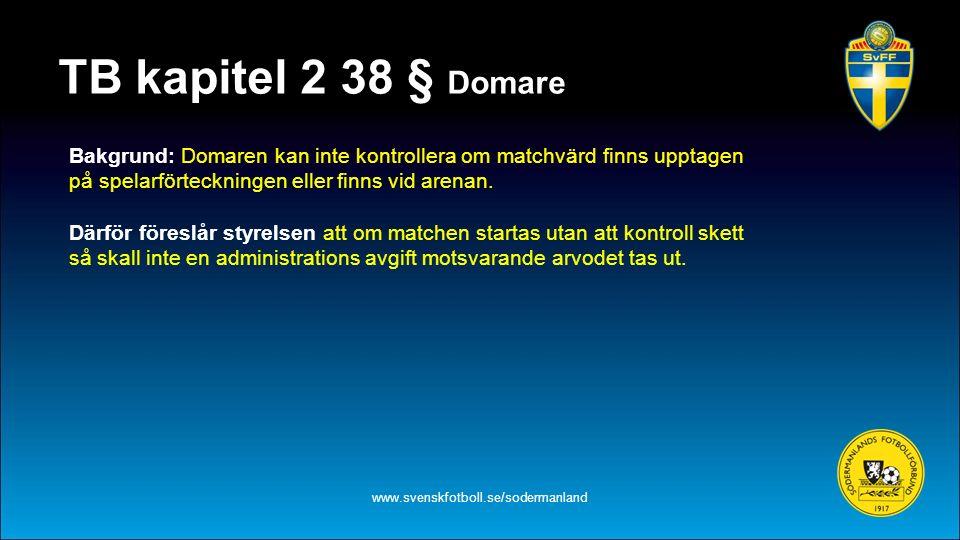 TB kapitel 2 38 § Domare www.svenskfotboll.se/sodermanland Bakgrund: Domaren kan inte kontrollera om matchvärd finns upptagen på spelarförteckningen eller finns vid arenan.