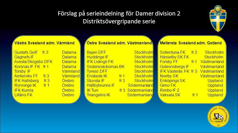 Förslag på serieindelning för Damer division 2 Distriktsövergripande serie Västra Svealand adm. Värmland Gustafs GoIF fr 3 Dalarna Gagnefs IFDalarna A