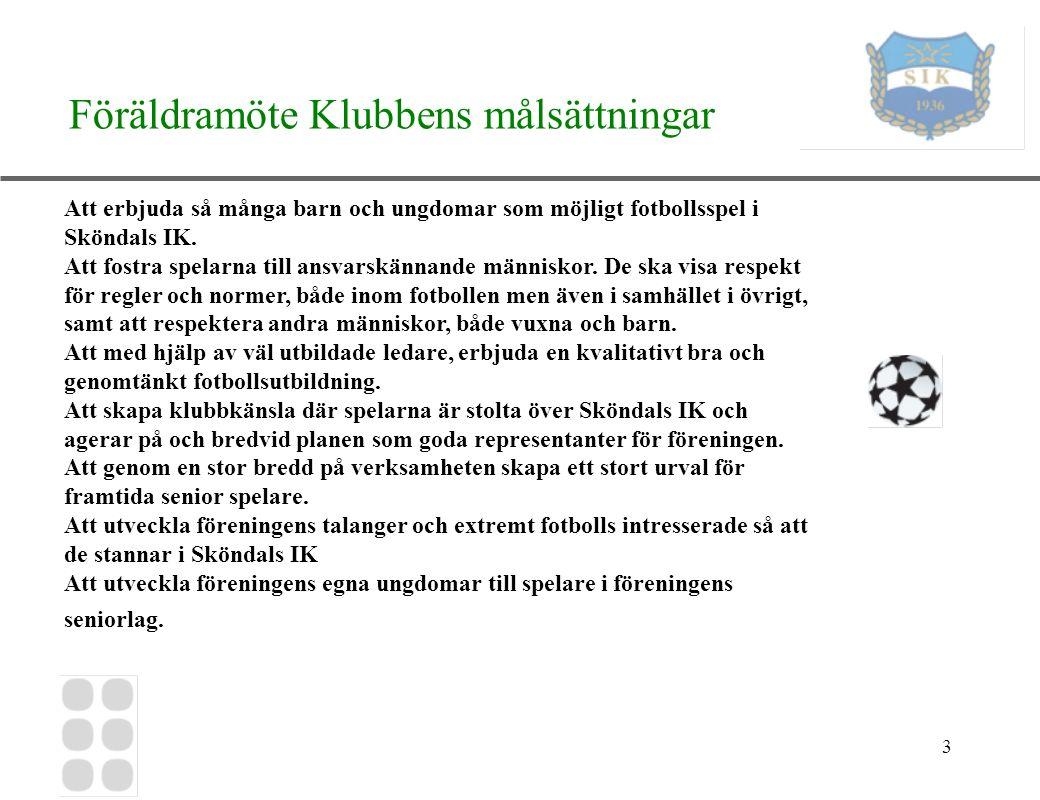4 Föräldramöte Presentation Vem ni är Till vilket barn Idrotts/fotbollsbakgrund om ni har/haft någon