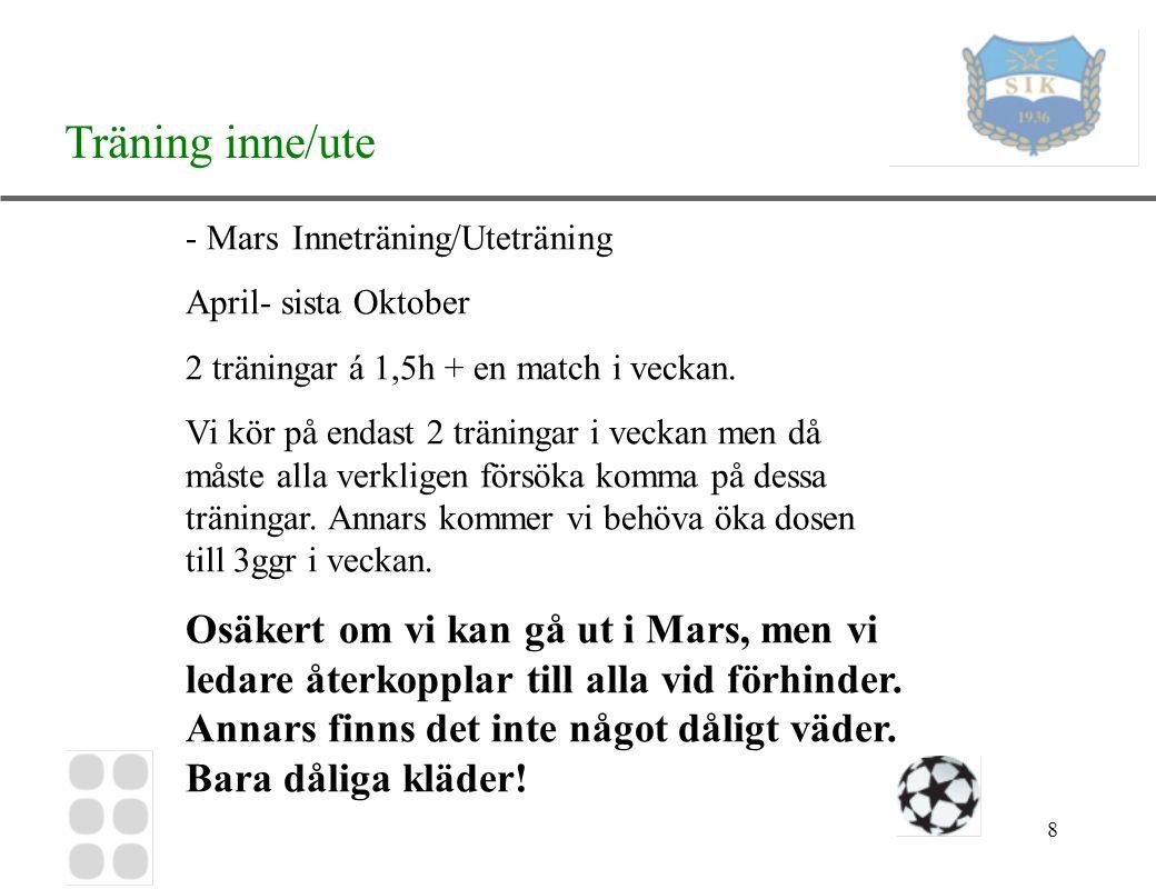 8 Träning inne/ute - MarsInneträning/Uteträning April- sista Oktober 2 träningar á 1,5h + en match i veckan.
