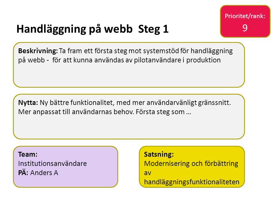Sv Handläggning på webb Steg 1 Nytta: Ny bättre funktionalitet, med mer användarvänligt gränssnitt. Mer anpassat till användarnas behov. Första steg s