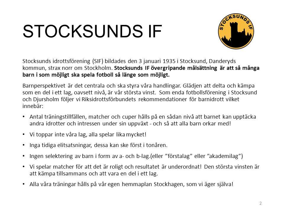 STOCKSUNDS IF Stocksunds idrottsförening (SIF) bildades den 3 januari 1935 i Stocksund, Danderyds kommun, strax norr om Stockholm.