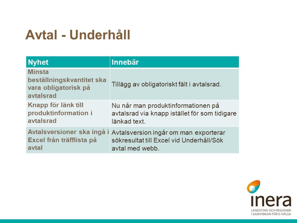 Avtal - Underhåll NyhetInnebär Minsta beställningskvantitet ska vara obligatorisk på avtalsrad Tillägg av obligatoriskt fält i avtalsrad.