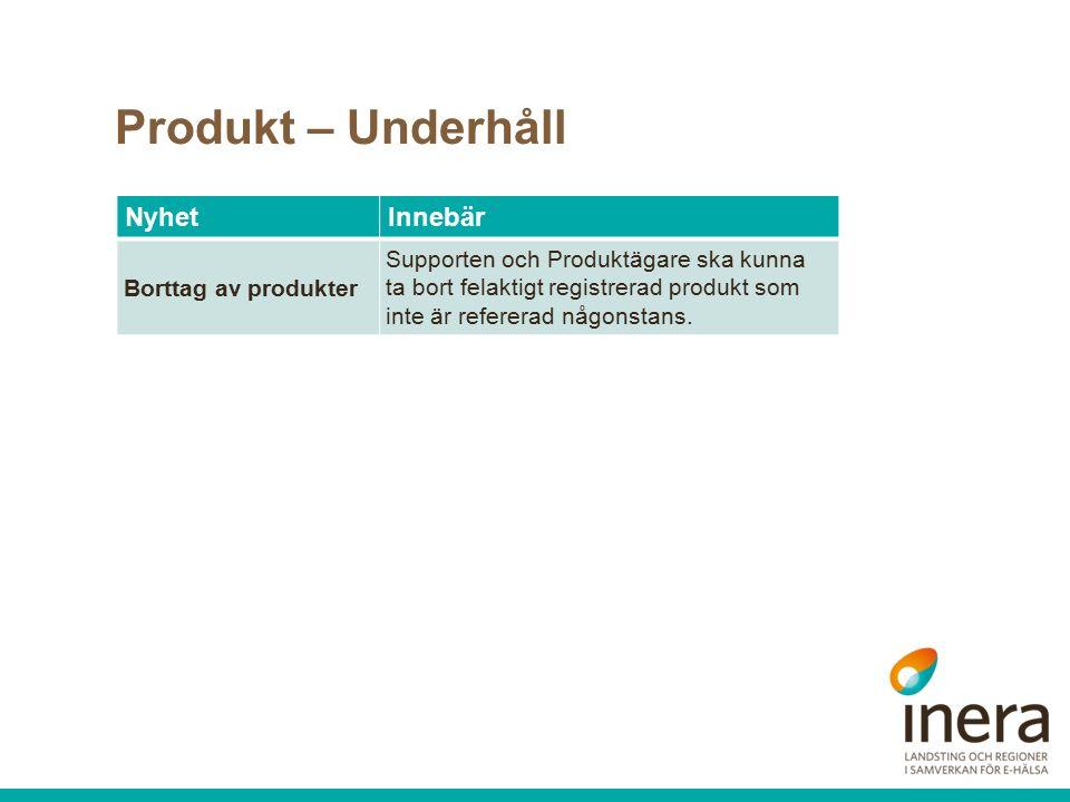 Produkt – Underhåll NyhetInnebär Borttag av produkter Supporten och Produktägare ska kunna ta bort felaktigt registrerad produkt som inte är refererad någonstans.