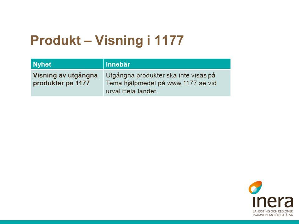 Produkt – Visning i 1177 NyhetInnebär Visning av utgångna produkter på 1177 Utgångna produkter ska inte visas på Tema hjälpmedel på www.1177.se vid urval Hela landet.