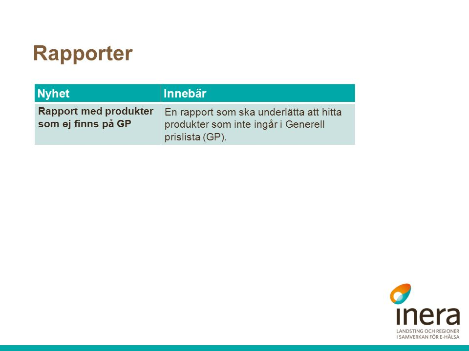 Rapporter NyhetInnebär Rapport med produkter som ej finns på GP En rapport som ska underlätta att hitta produkter som inte ingår i Generell prislista (GP).