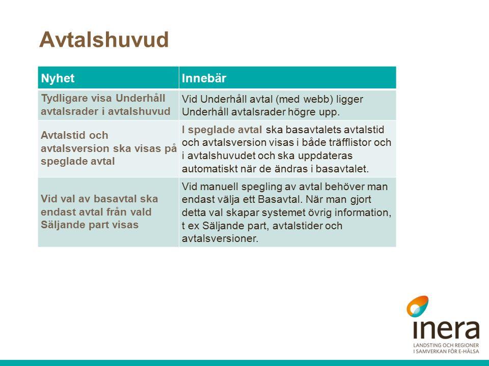 Avtalshuvud NyhetInnebär Tydligare visa Underhåll avtalsrader i avtalshuvud Vid Underhåll avtal (med webb) ligger Underhåll avtalsrader högre upp.