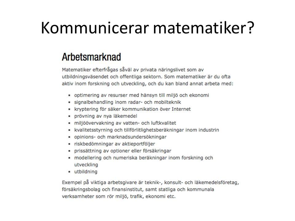 Kommunicerar matematiker