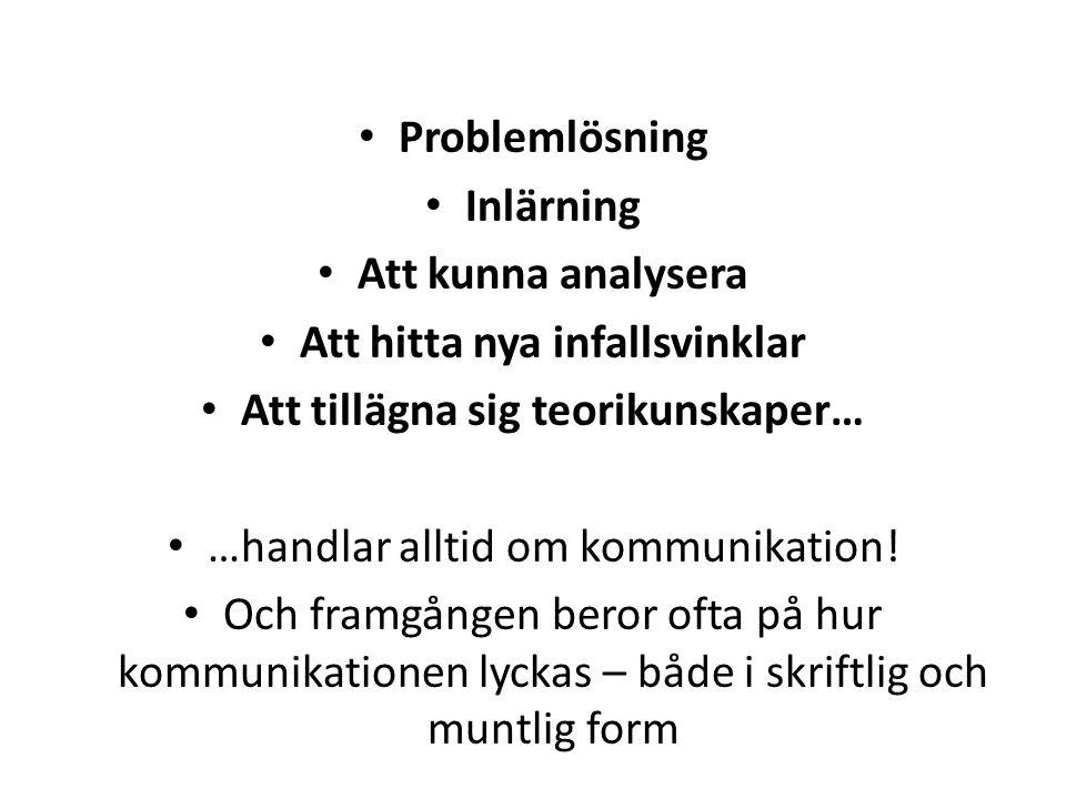 Problemlösning Inlärning Att kunna analysera Att hitta nya infallsvinklar Att tillägna sig teorikunskaper… …handlar alltid om kommunikation.