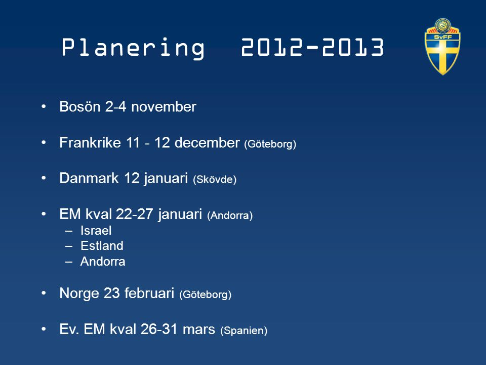 Planering 2012-2013 Bosön 2-4 november Frankrike 11 - 12 december (Göteborg) Danmark 12 januari (Skövde) EM kval 22-27 januari (Andorra) –Israel –Estland –Andorra Norge 23 februari (Göteborg) Ev.