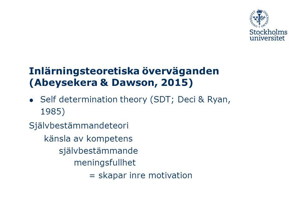 Inlärningsteoretiska överväganden ● Cognitive Load Theory (CLT; Miller, 1956) Kognitiv belastning – intrinsic (inneboende) HANTERA – extraneous (irrelevant; ovidkommande) REDUCERA – germane (träffande; förknippade med) DRA NYTTA AV