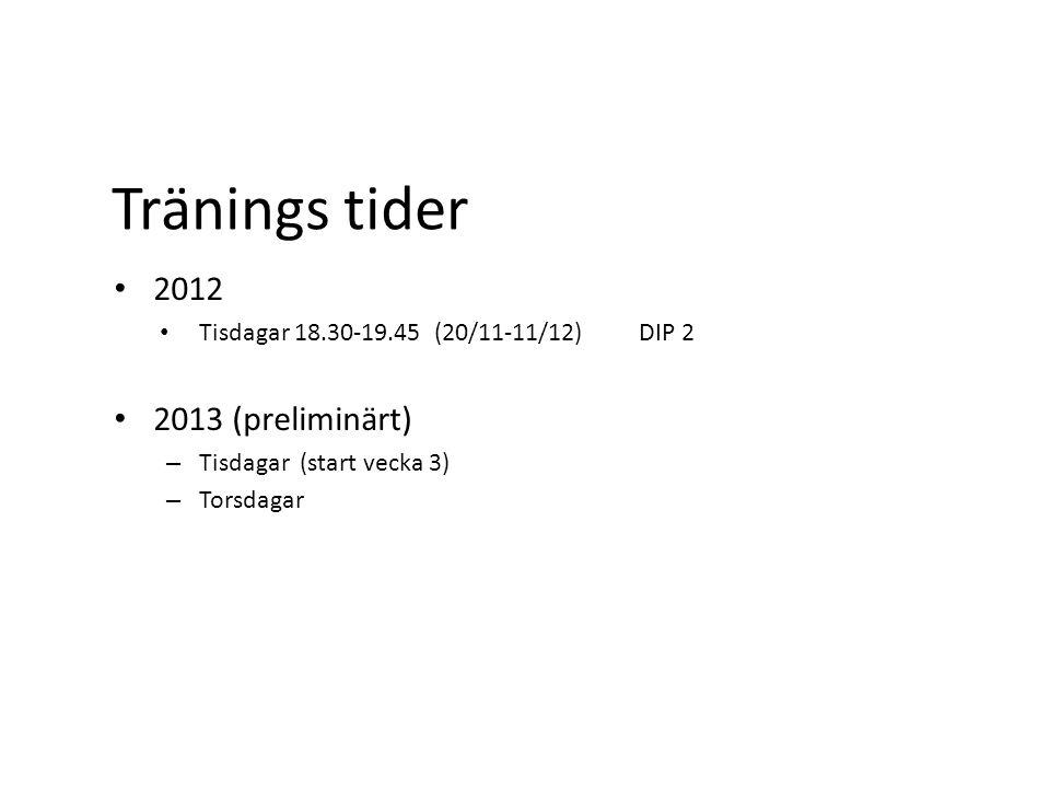 Tränings tider 2012 Tisdagar 18.30-19.45 (20/11-11/12) DIP 2 2013 (preliminärt) – Tisdagar (start vecka 3) – Torsdagar