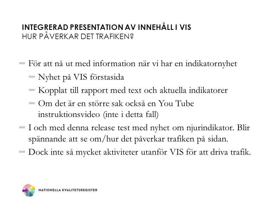 INTEGRERAD PRESENTATION AV INNEHÅLL I VIS HUR PÅVERKAR DET TRAFIKEN.