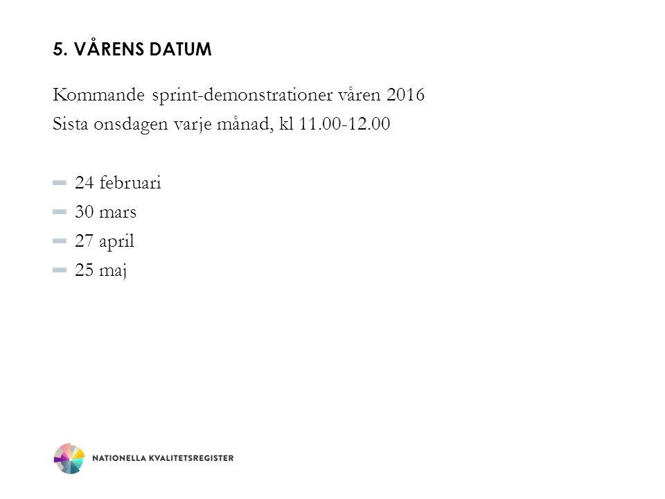 5. VÅRENS DATUM Kommande sprint-demonstrationer våren 2016 Sista onsdagen varje månad, kl 11.00-12.00 24 februari 30 mars 27 april 25 maj