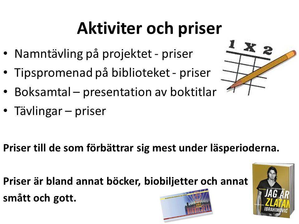 Aktiviter och priser Namntävling på projektet - priser Tipspromenad på biblioteket - priser Boksamtal – presentation av boktitlar Tävlingar – priser P