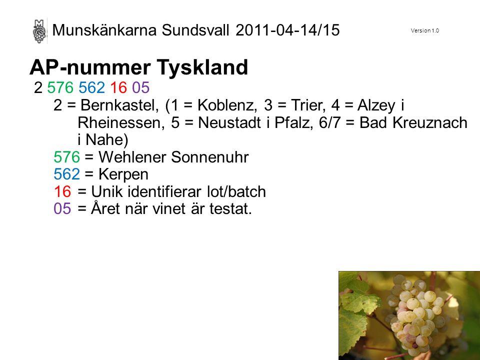 Version 1.0 Munskänkarna Sundsvall 2011-04-14/15 AP-nummer Tyskland 2 576 562 16 05 2 = Bernkastel, (1 = Koblenz, 3 = Trier, 4 = Alzey i Rheinessen, 5 = Neustadt i Pfalz, 6/7 = Bad Kreuznach i Nahe) 576 = Wehlener Sonnenuhr 562 = Kerpen 16= Unik identifierar lot/batch 05= Året när vinet är testat.