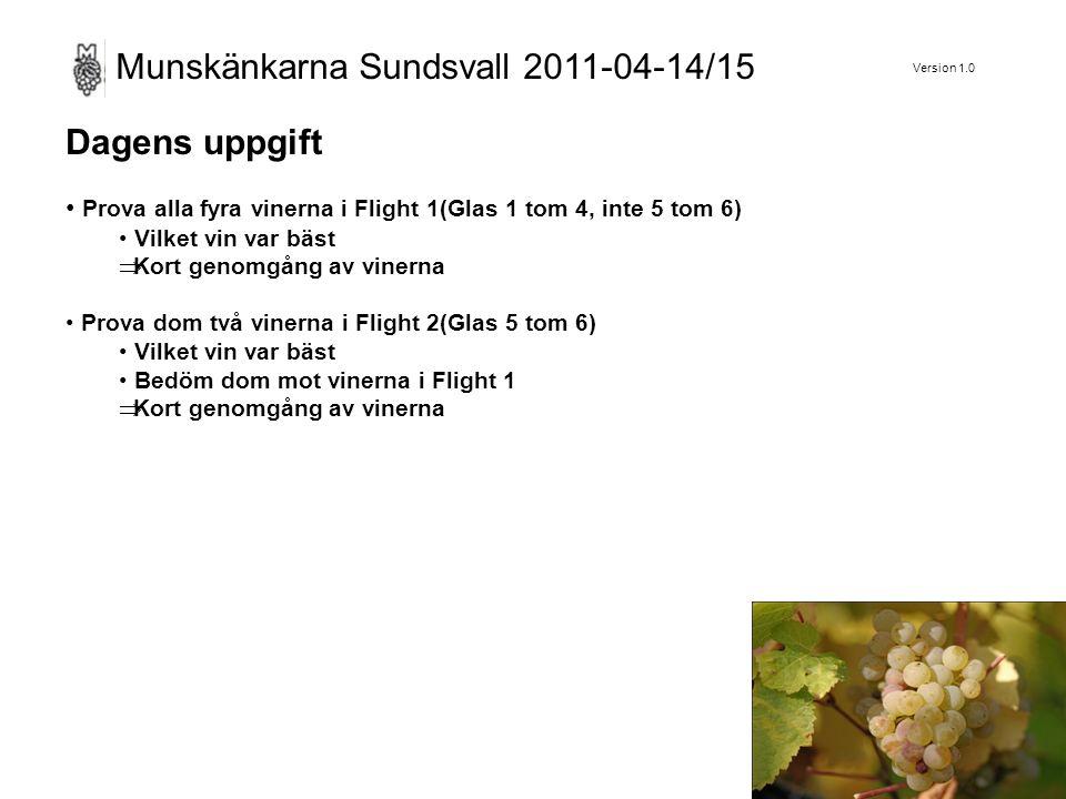 Version 1.0 Munskänkarna Sundsvall 2011-04-14/15 Dagens uppgift Prova alla fyra vinerna i Flight 1(Glas 1 tom 4, inte 5 tom 6) Vilket vin var bäst  Kort genomgång av vinerna Prova dom två vinerna i Flight 2(Glas 5 tom 6) Vilket vin var bäst Bedöm dom mot vinerna i Flight 1  Kort genomgång av vinerna
