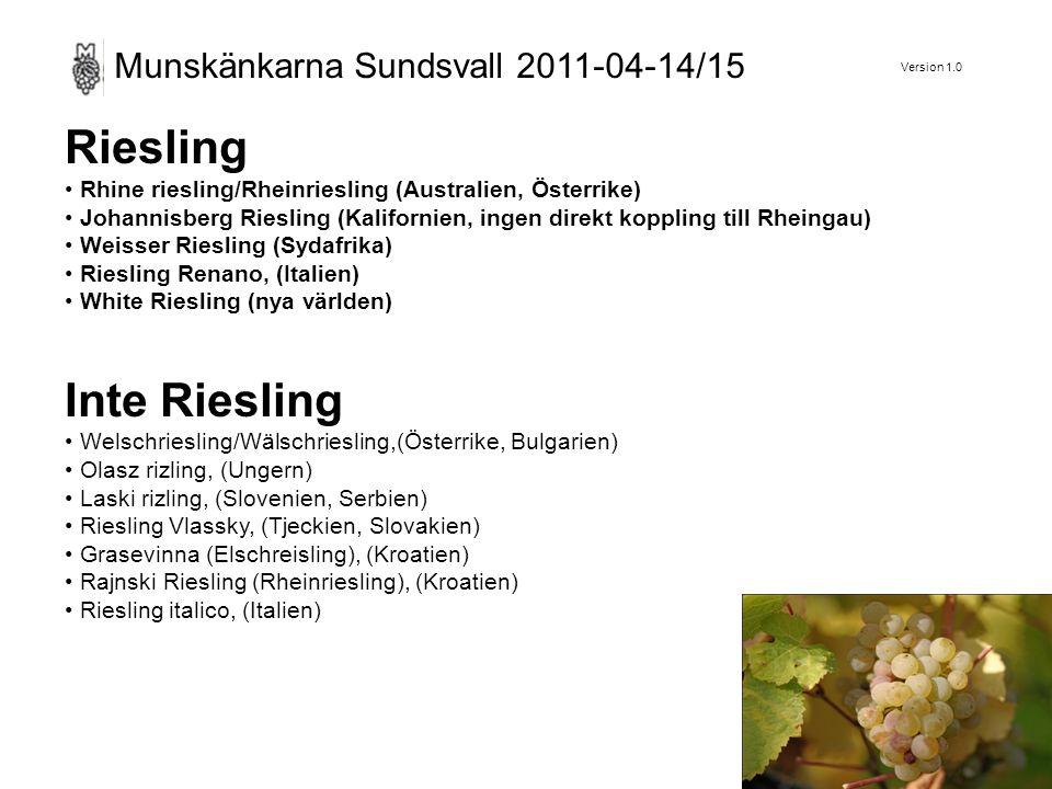 Version 1.0 Munskänkarna Sundsvall 2011-04-14/15 Riesling Rhine riesling/Rheinriesling (Australien, Österrike) Johannisberg Riesling (Kalifornien, ingen direkt koppling till Rheingau) Weisser Riesling (Sydafrika) Riesling Renano, (Italien) White Riesling (nya världen) Inte Riesling Welschriesling/Wälschriesling,(Österrike, Bulgarien) Olasz rizling, (Ungern) Laski rizling, (Slovenien, Serbien) Riesling Vlassky, (Tjeckien, Slovakien) Grasevinna (Elschreisling), (Kroatien) Rajnski Riesling (Rheinriesling), (Kroatien) Riesling italico, (Italien)