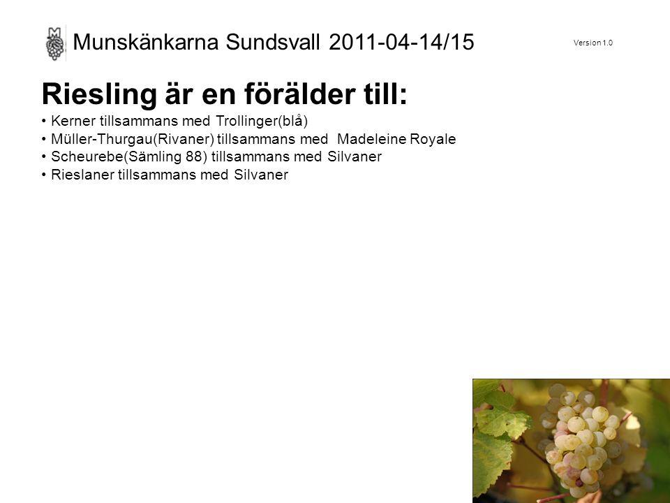 Version 1.0 Munskänkarna Sundsvall 2011-04-14/15 Riesling är en förälder till: Kerner tillsammans med Trollinger(blå) Müller-Thurgau(Rivaner) tillsammans med Madeleine Royale Scheurebe(Sämling 88) tillsammans med Silvaner Rieslaner tillsammans med Silvaner