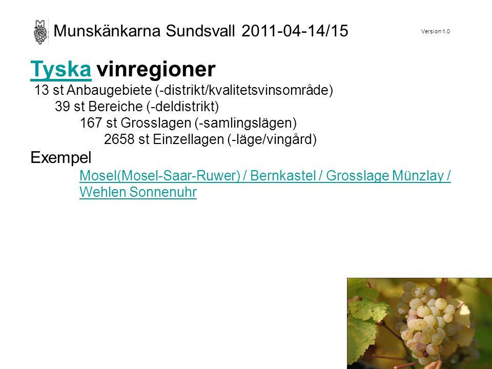 Version 1.0 Munskänkarna Sundsvall 2011-04-14/15 TyskaTyska vinregioner 13 st Anbaugebiete (-distrikt/kvalitetsvinsområde) 39 st Bereiche (-deldistrikt) 167 st Grosslagen (-samlingslägen) 2658 st Einzellagen (-läge/vingård) Exempel Mosel(Mosel-Saar-Ruwer) / Bernkastel / Grosslage Münzlay / Wehlen Sonnenuhr