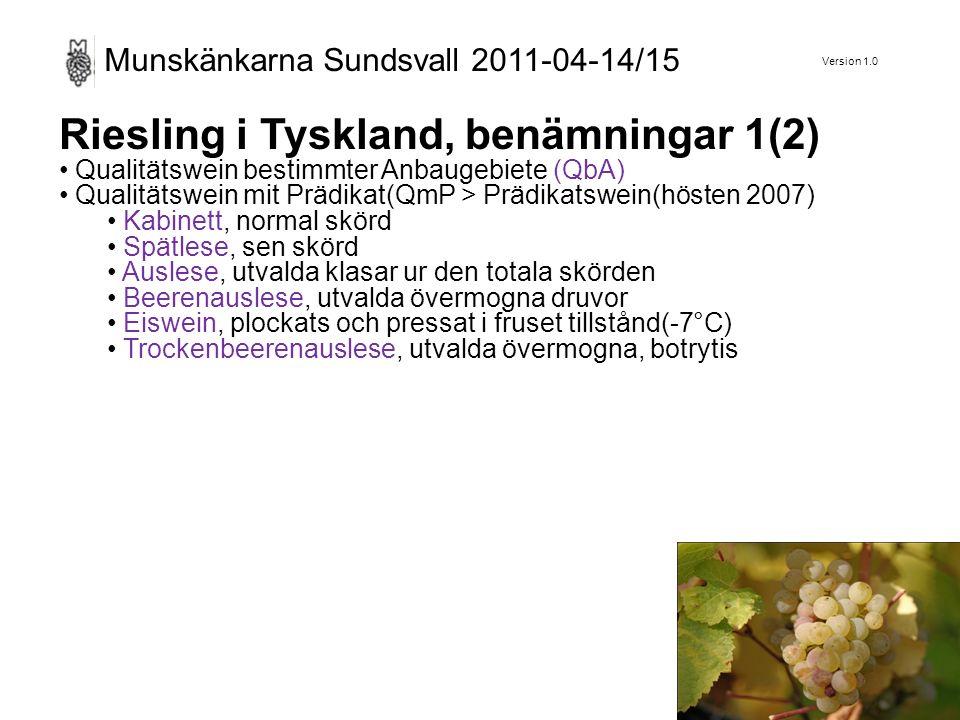 Version 1.0 Munskänkarna Sundsvall 2011-04-14/15 Riesling i Tyskland, benämningar 2(2) Classic, torrt vin med kvalitet över genomsnittet, from 2000.
