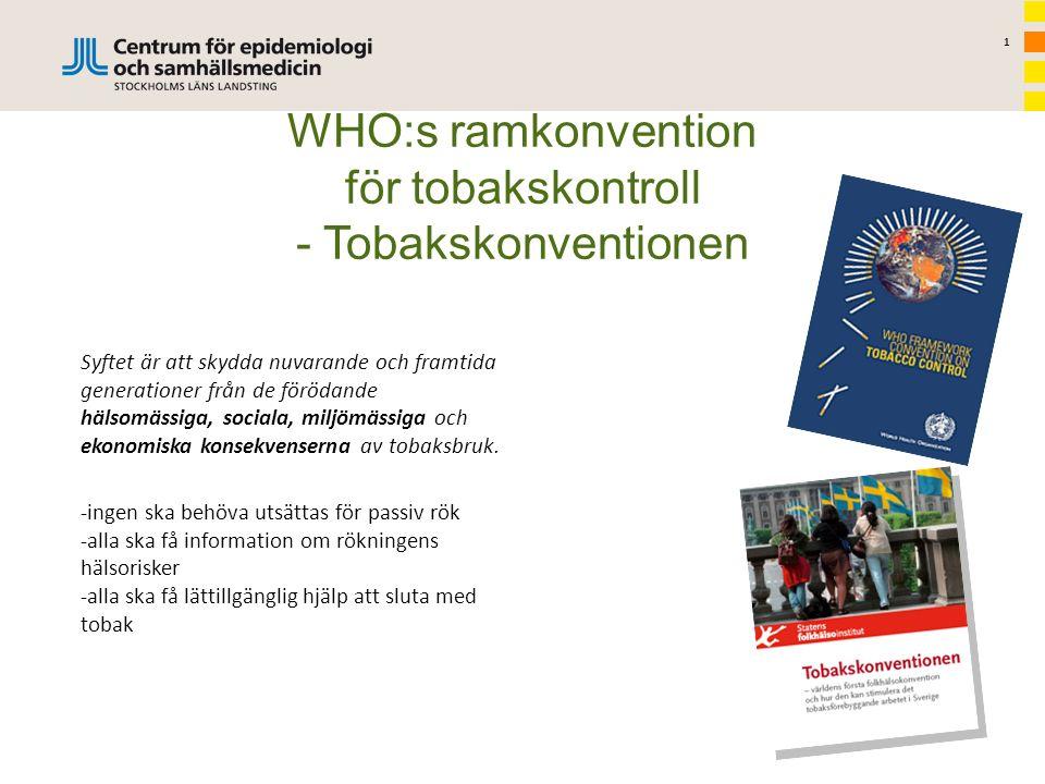 1 WHO:s ramkonvention för tobakskontroll - Tobakskonventionen Syftet är att skydda nuvarande och framtida generationer från de förödande hälsomässiga, sociala, miljömässiga och ekonomiska konsekvenserna av tobaksbruk.
