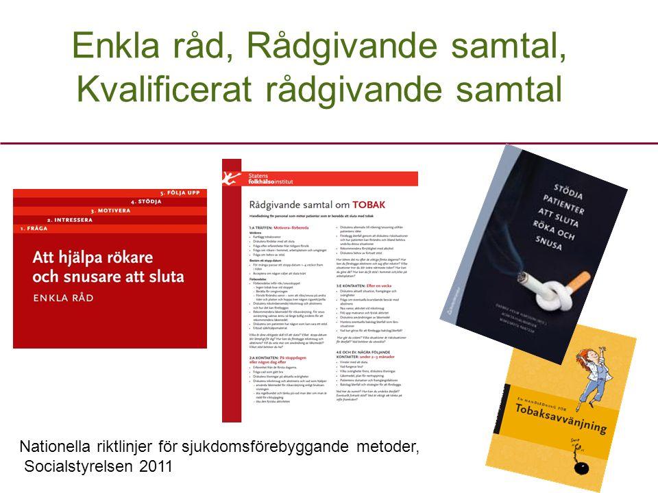 Enkla råd, Rådgivande samtal, Kvalificerat rådgivande samtal Nationella riktlinjer för sjukdomsförebyggande metoder, Socialstyrelsen 2011