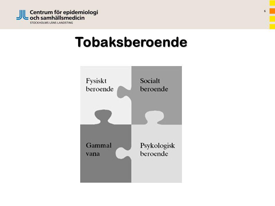 7 Ann Post Tobaksavvänjningsmetoder Motiverande samtal (MI) –en samtalsmetod för att främja viljan och få tilltro till sin förmåga att klara av att genomföra förändringen Kognitiv beteendeterapi (KBT) –har bland annat visat sig hjälpa att förändra tanke- och beteendemönster i syfte att förändra sina levnadsmönster
