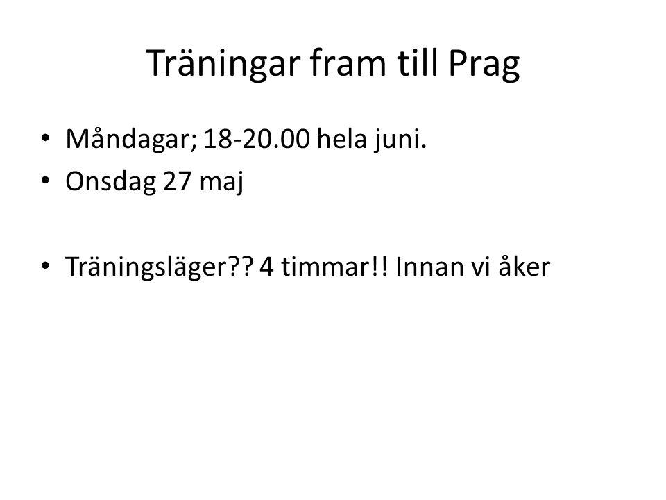Träningar fram till Prag Måndagar; 18-20.00 hela juni.