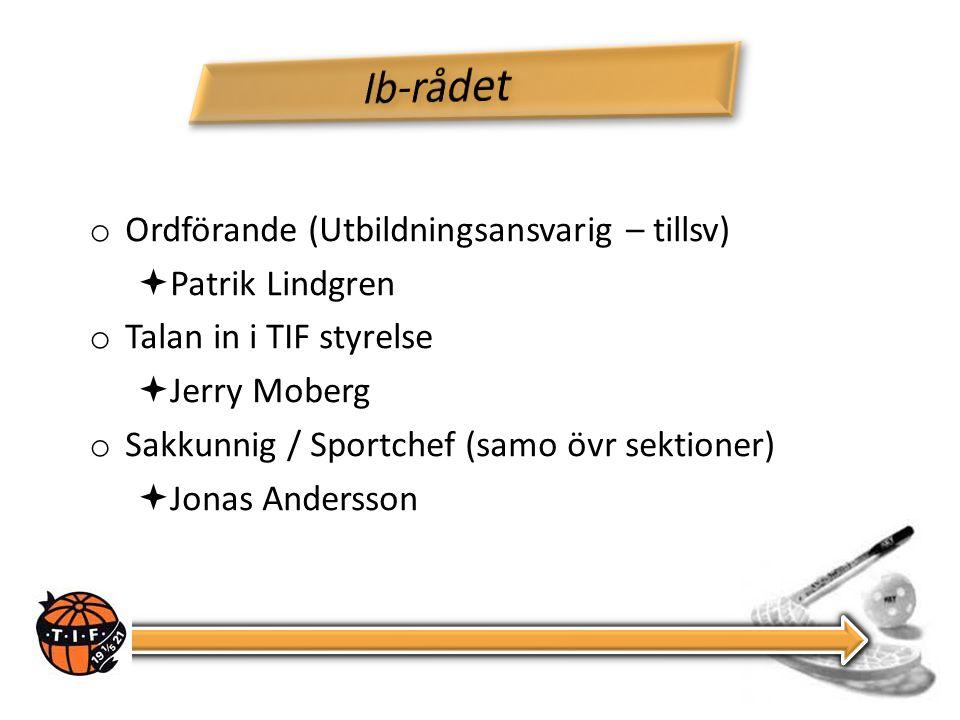 o Ordförande (Utbildningsansvarig – tillsv)  Patrik Lindgren o Talan in i TIF styrelse  Jerry Moberg o Sakkunnig / Sportchef (samo övr sektioner)  Jonas Andersson